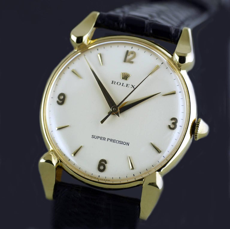 Rolex Yellow Gold Super Precision Chronometer Wristwatch, circa 1949 For Sale 3