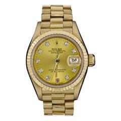 Rolex Yellow Gold Ladies President Diamond Dial Watch