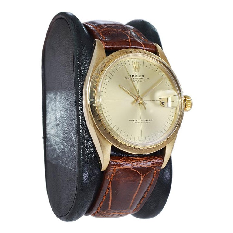 Modernist Rolex Yellow Gold Zephyr Automatic Watch, circa 1984 For Sale