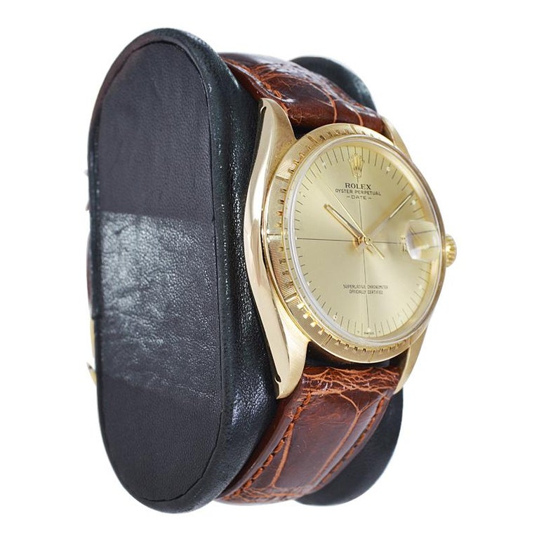 Women's or Men's Rolex Yellow Gold Zephyr Automatic Watch, circa 1984 For Sale