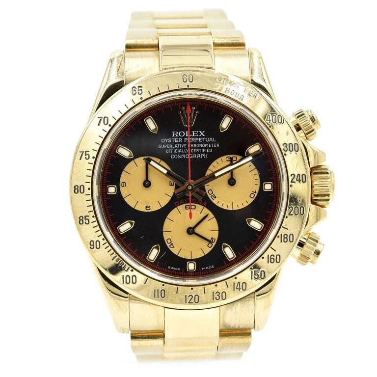 Rolex Yellow Gold Daytona Cosmograph Zenith automatic Wristwatch Ref 16528