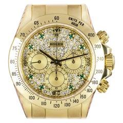 Rolex Zenith Movement Cosmograph Daytona Gold Pave Diamond and Emerald Set Watch