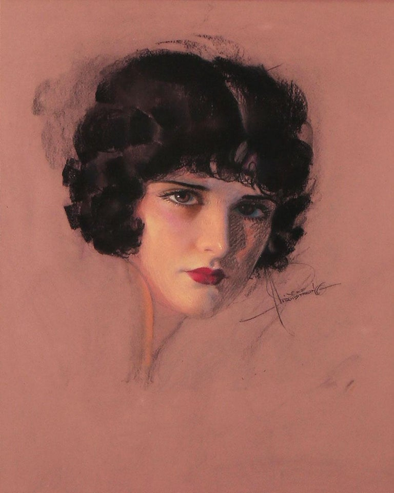 Rolf Armstrong Figurative Painting - Portrait of Evelyn Brent