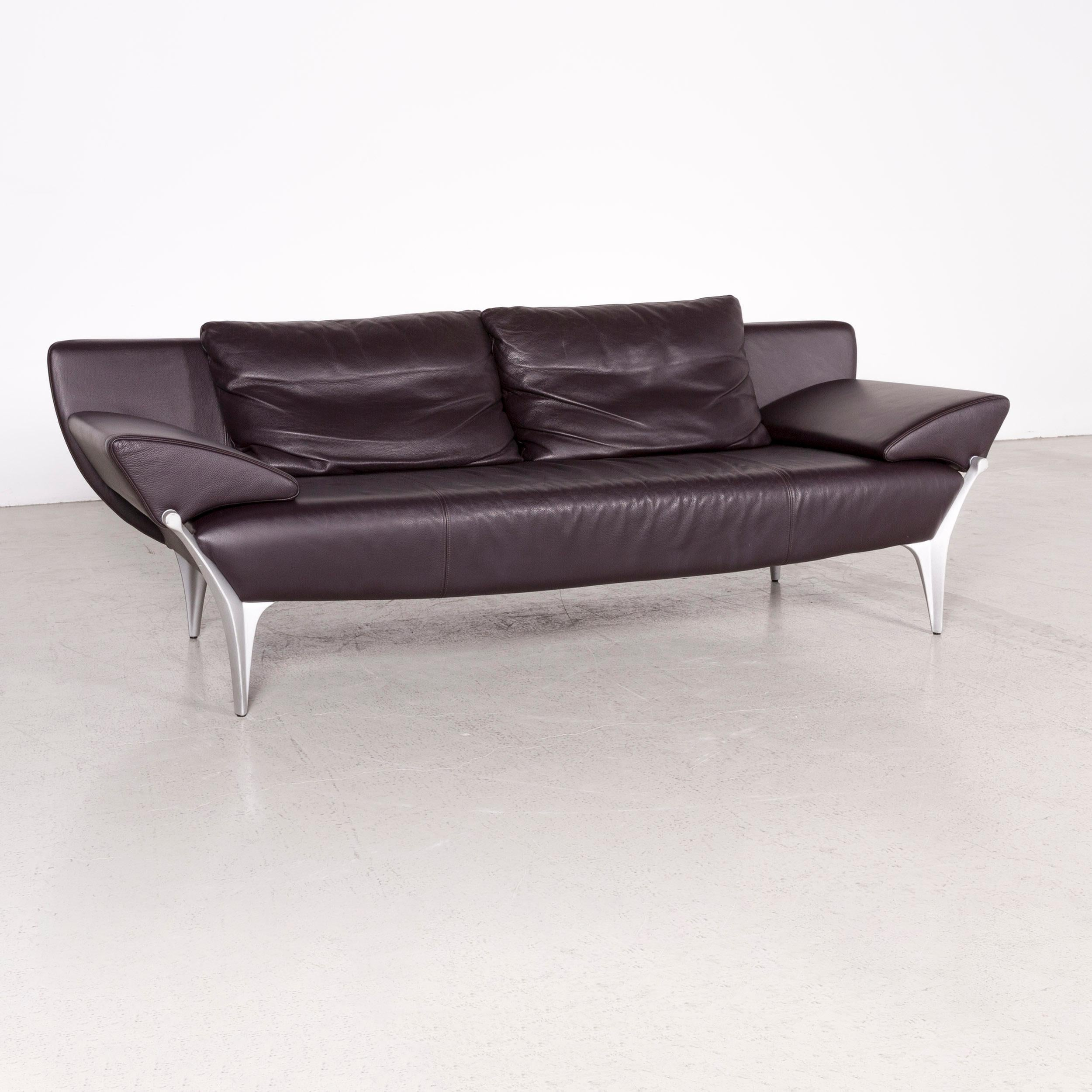 Rolf Benz 1600 Designer Leather Sofa Aubergine Genuine Leather Three Seat