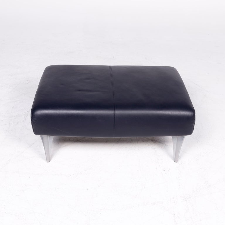 Contemporary Rolf Benz 1600 Designer Leather Stool Blue Genuine Leather Stool For Sale