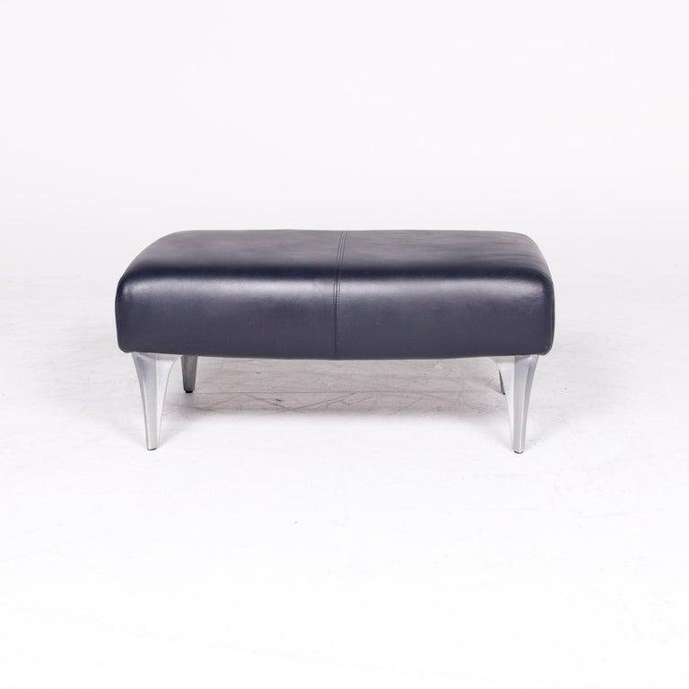 Rolf Benz 1600 Designer Leather Stool Blue Genuine Leather Stool For Sale 2