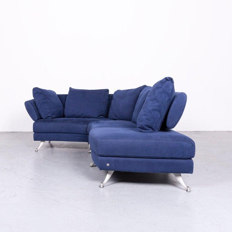 Rolf Benz 222 Designer Sofa Aus Blauem Stoff Dreisitzer Eck Couch Im