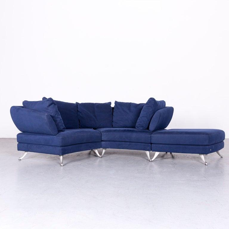 Rolf Benz 222 Designer Sofa Blue Fabric Three Seat Corner Couch For