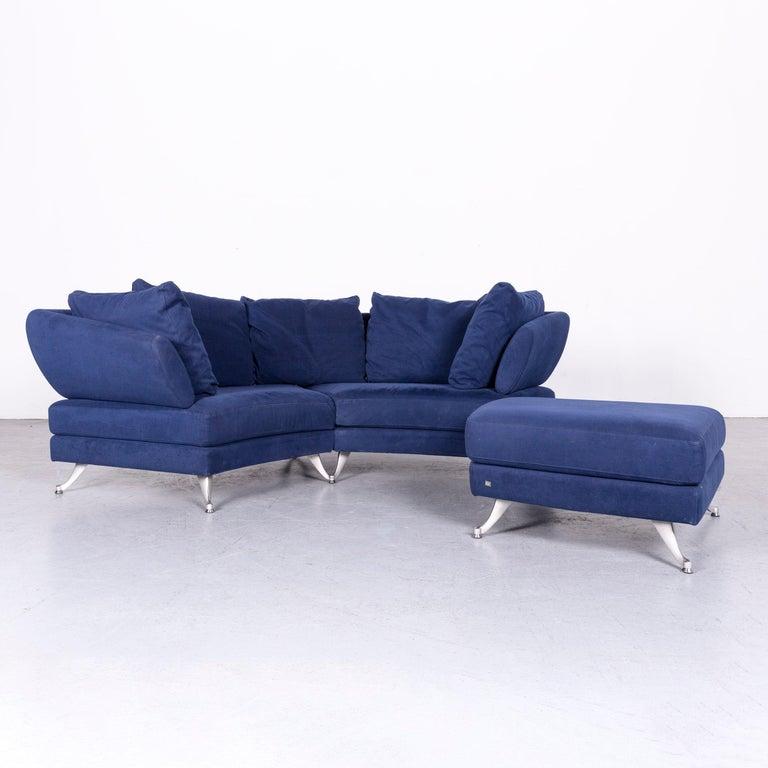 Rolf Benz 222 Designer Sofa Blue Fabric Three Seat Corner Couch