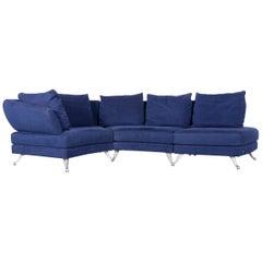 Rolf Benz 222 Designer Sofa Blue Fabric Three-Seat Corner Couch
