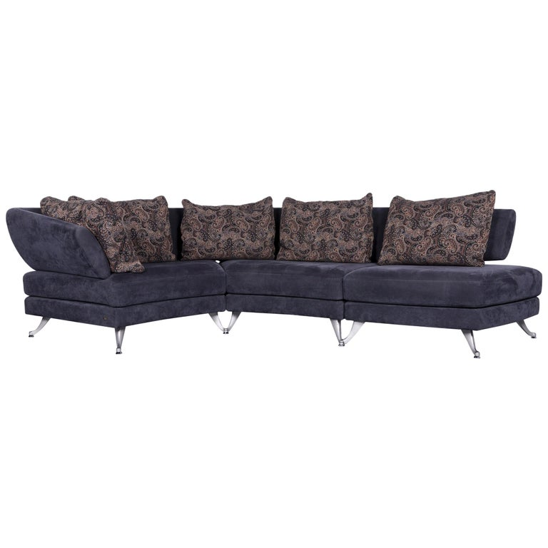 Rolf Benz 222 Designer Sofa Dark Blue Fabric Three Seat Corner Couch