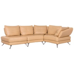 Rolf Benz 222 Leather Corner Sofa Beige Sofa Function Variable Modular Sofa