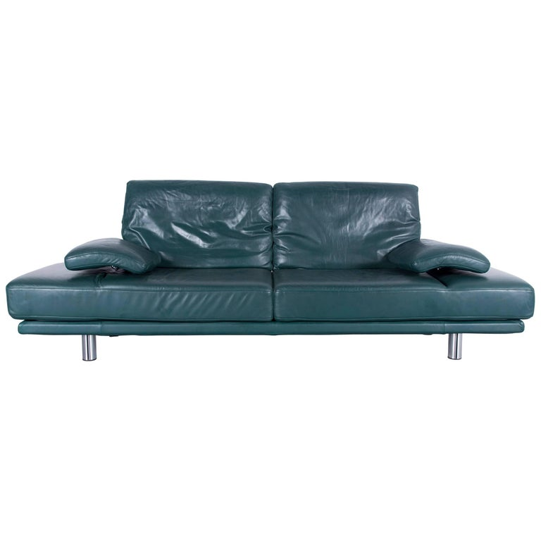 Rolf Benz 2400 Designer Sofa Green Two Seat Leather Modern Couch Metal Feet