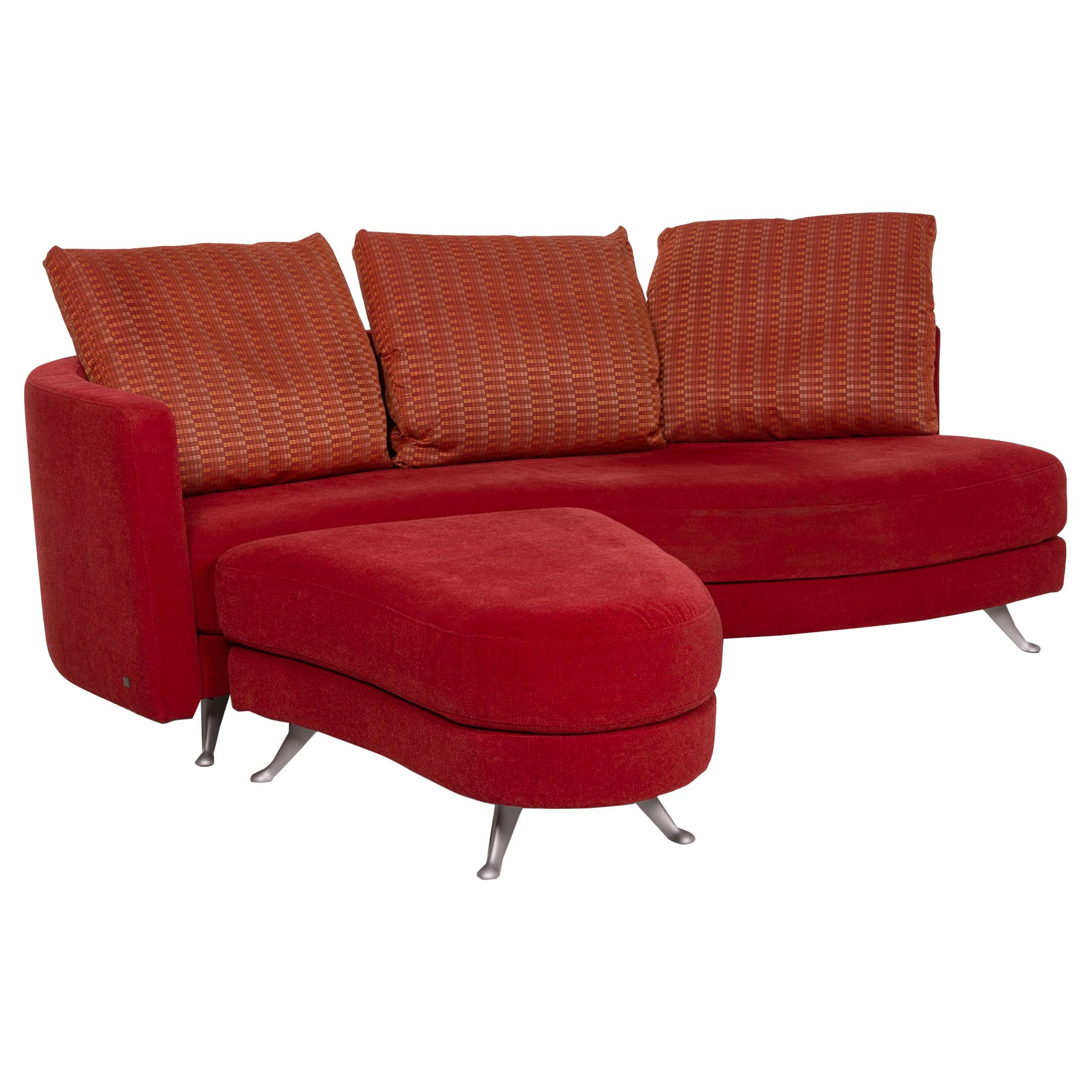 Rolf Benz 2500 Red Three-Seater Fabric Sofa Incl. Ottoman Set