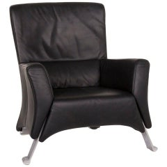 Rolf Benz 322 Black Armchair Leather