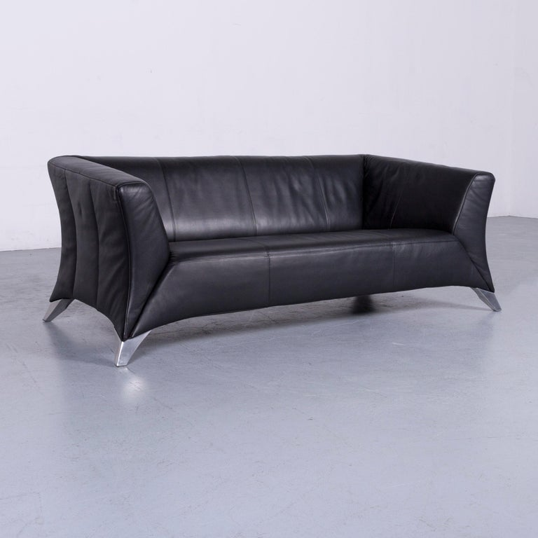 Rolf Benz 322 Designer Sofa Black Two-Seat Leather Modern Couch