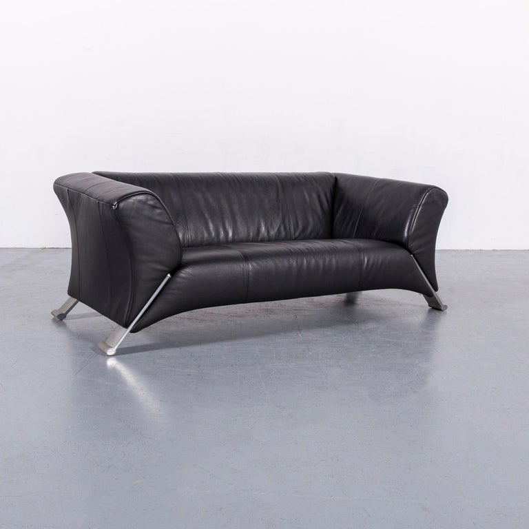 Rolf Benz 322 Designer Sofa Black Two-Seat Leather Modern Couch Metal Feet