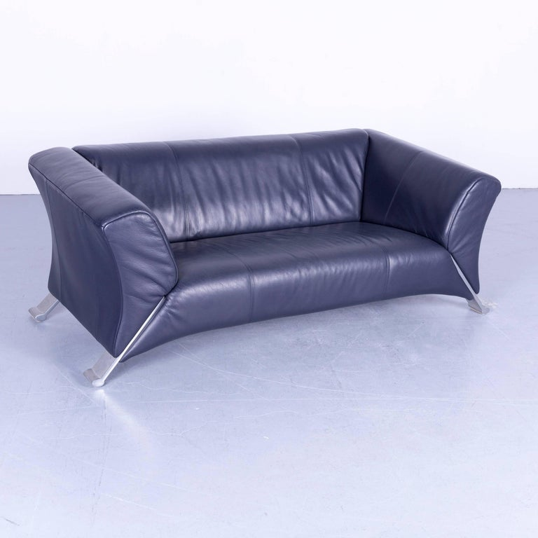 Rolf Benz 322 Designer Sofa Blue Two Seat Leather Modern