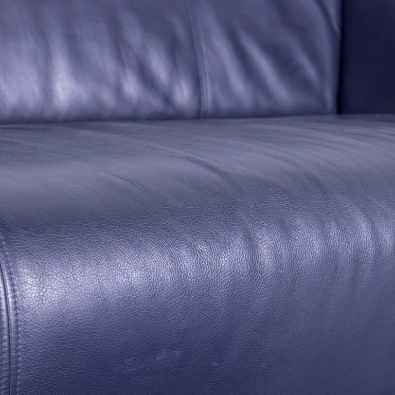 German Rolf Benz 322 Designer Sofa Blue Two-Seat Leather Modern Couch Metal Feet