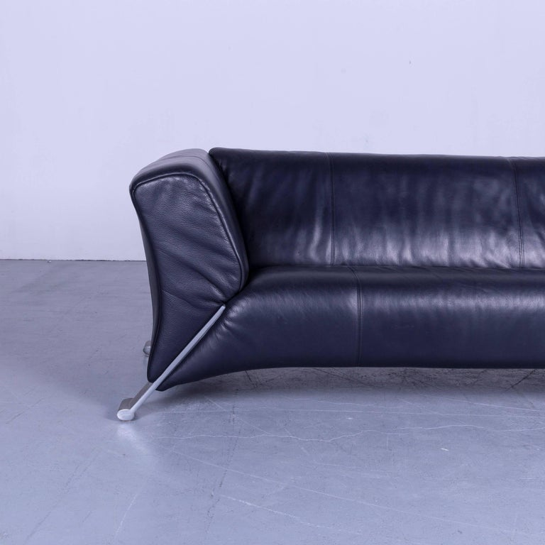 Contemporary Rolf Benz 322 Designer Sofa Blue Two-Seat Leather Modern Couch Metal Feet