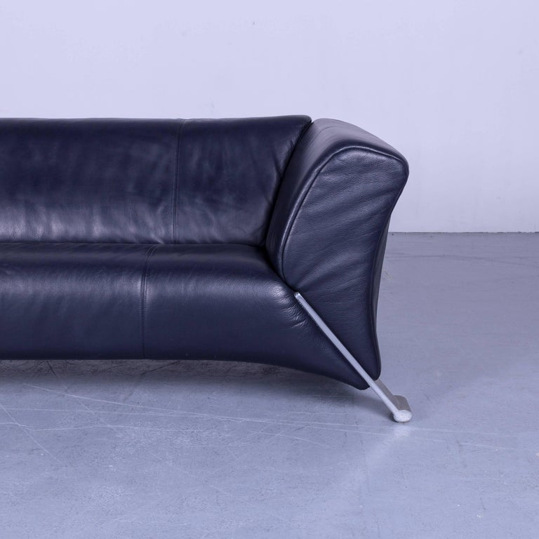 Rolf Benz 322 Designer Sofa Blue Two-Seat Leather Modern Couch Metal Feet 1