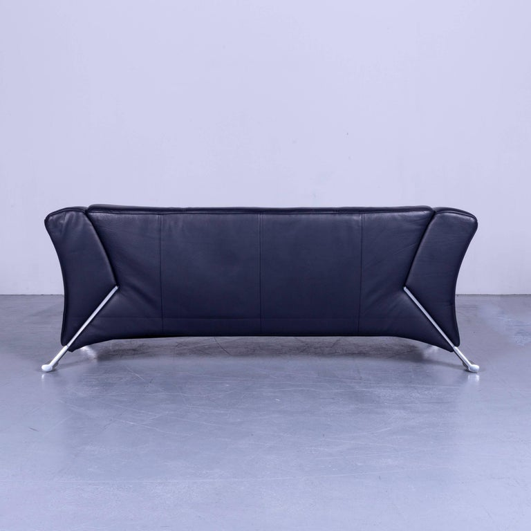 Rolf Benz 322 Designer Sofa Blue Two-Seat Leather Modern Couch Metal Feet 3