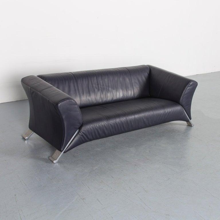 Rolf Benz 322 Designer Sofa Dark Blue Three-Seat Leather Modern Couch