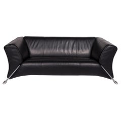 Rolf Benz 322 Leather Sofa Black Three-Seat Couch