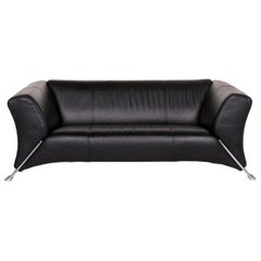Rolf Benz 322 Leather Sofa Black Two-Seat Couch