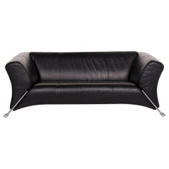 Rolf Benz 322 Leather Sofa Black Two-Seat