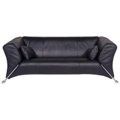 Rolf Benz 322 Leather Sofa Blue Dark Blue Two-Seat Couch