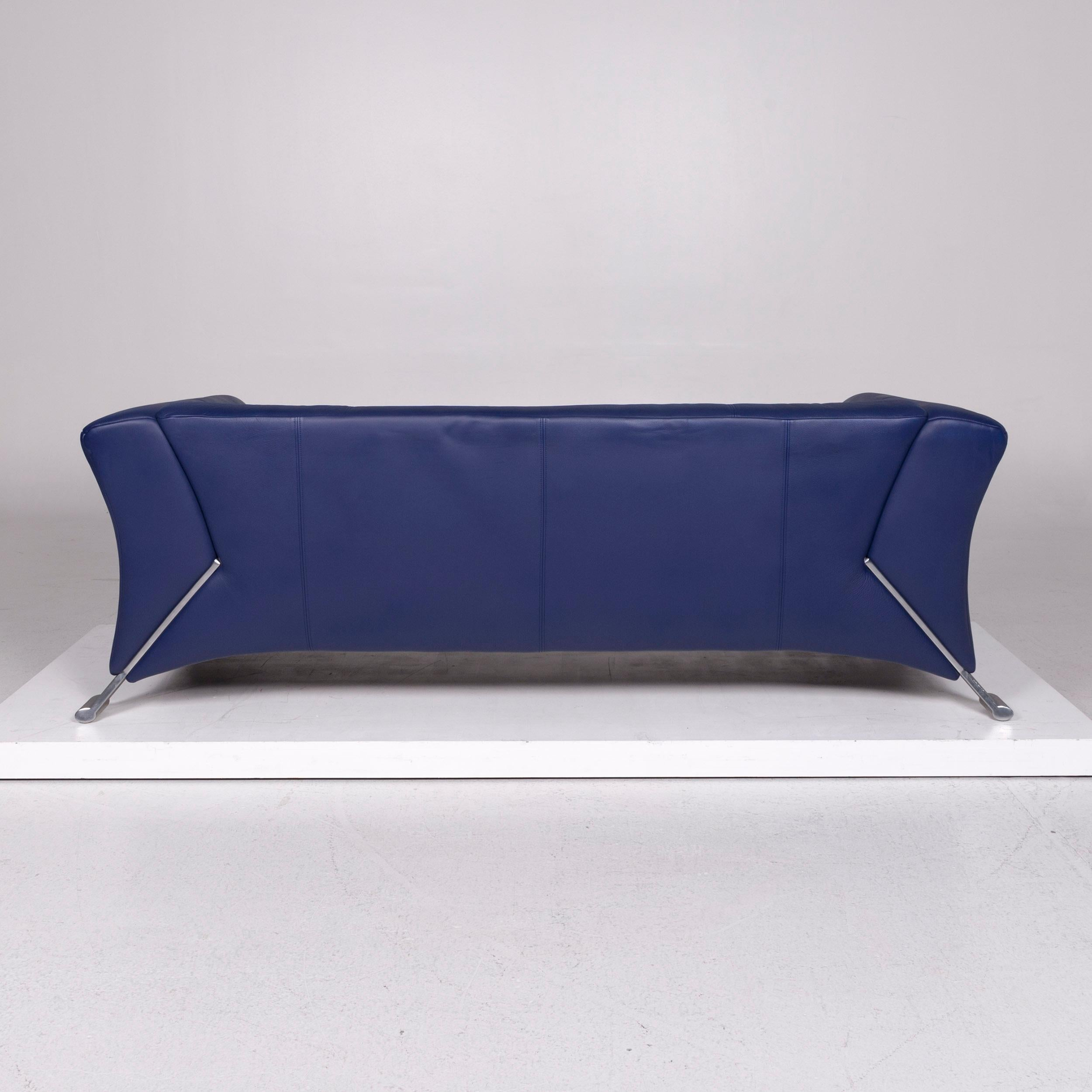 Rolf Benz 322 Leather Sofa Blue Three Seat Couch