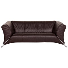 Rolf Benz 322 Leather Sofa Dark Brown Brown Two-Seat Couch