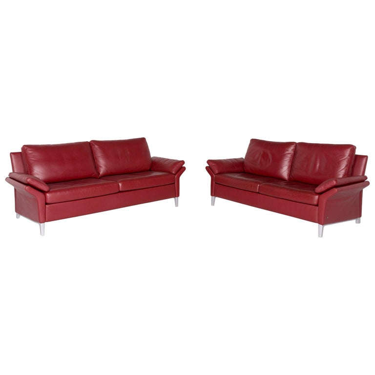 Rolf Benz 3300 Designer Leather Sofa Set Red Genuine Leather Two-Seat