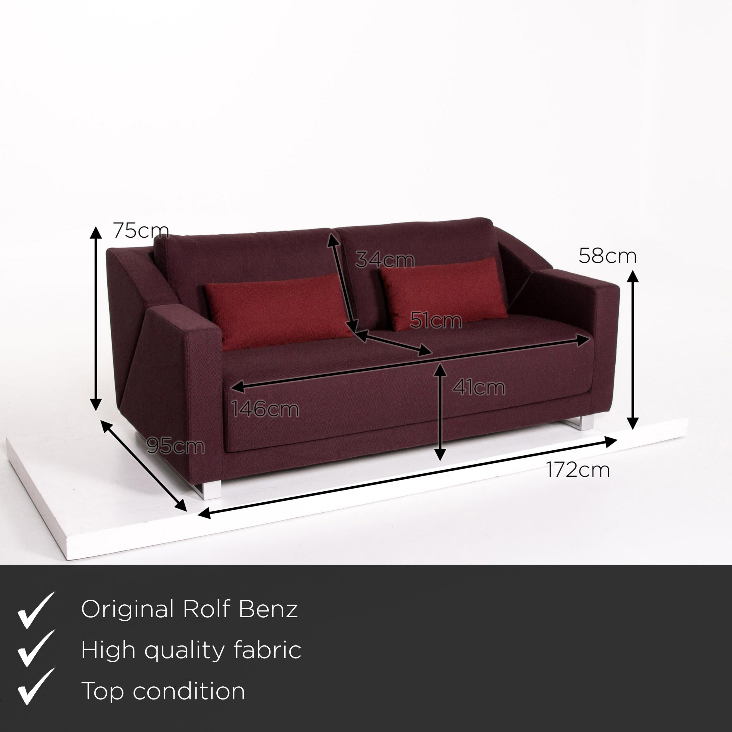Rolf Benz 350 Fabric Sofa Aubergine Violet Three Seat Couch For Sale At 1stdibs