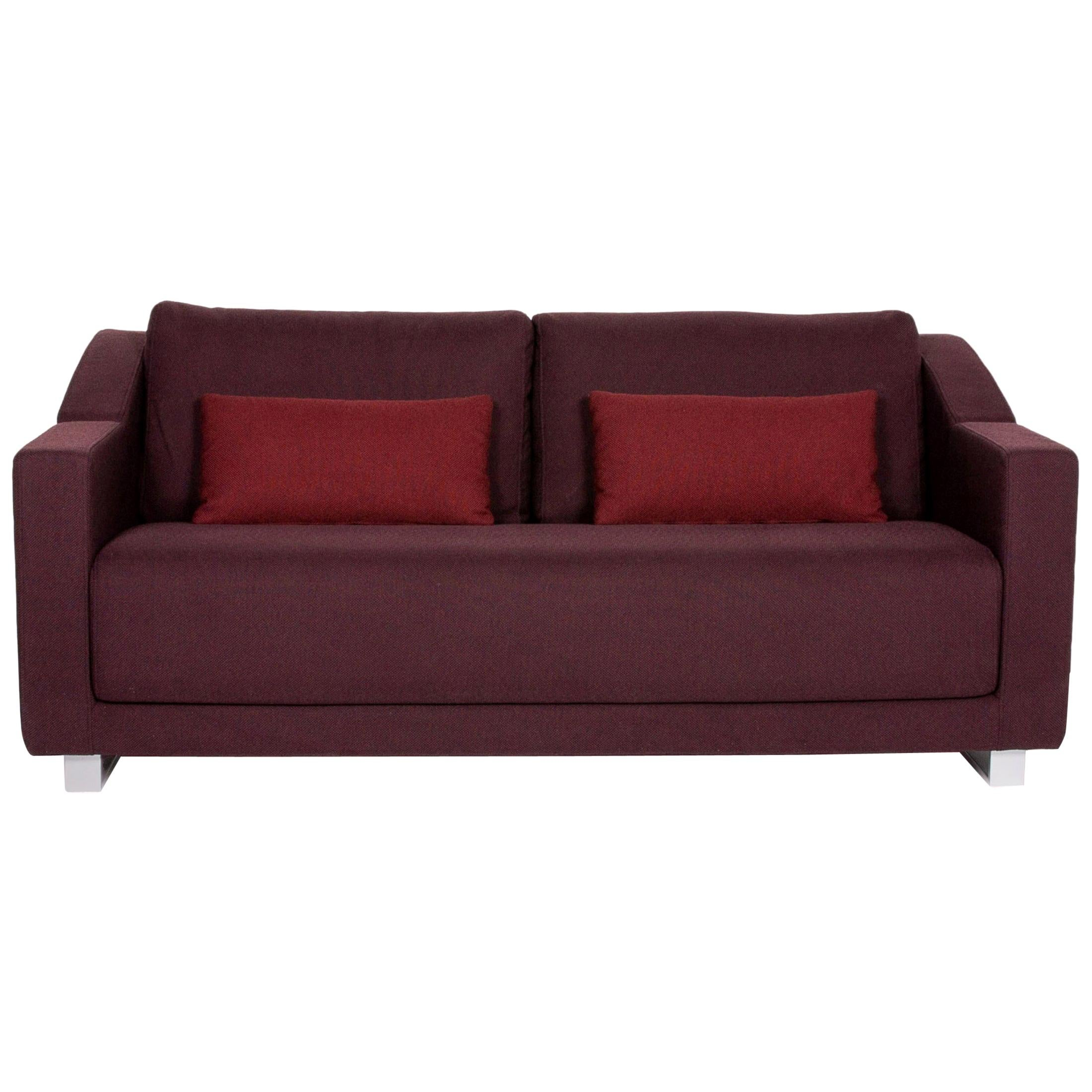 Rolf Benz 350 Fabric Sofa Aubergine Violet Three-Seat Couch