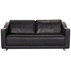 Rolf Benz 350 Leather Sofa Black Two-Seat Couch