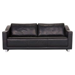 Rolf Benz 350 Leather Sofa Set Black Three-Seat Couch