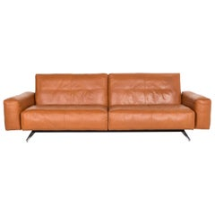 Rolf Benz 50 Leather Sofa Cognac Brown Three-Seat Couch