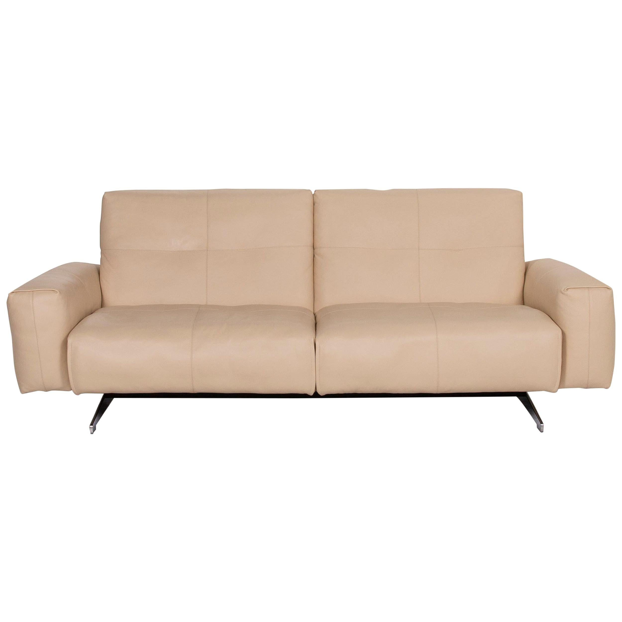 Rolf Benz 50 Leather Sofa Cream Two-Seat