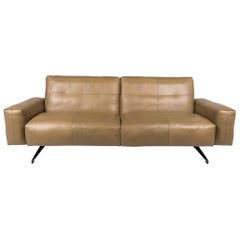 Rolf Benz 50 Leather Sofa Olive Green Green Three-Seat Function Couch