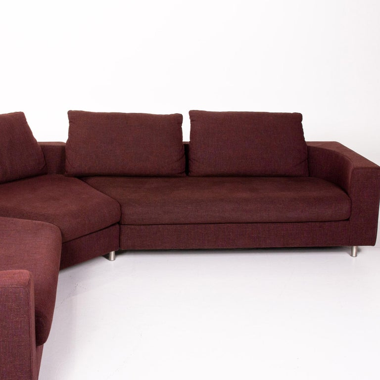 Rolf Benz 546 Fabric Corner Sofa Incl. Stool Dark Red Red Sofa Couch For Sale 4
