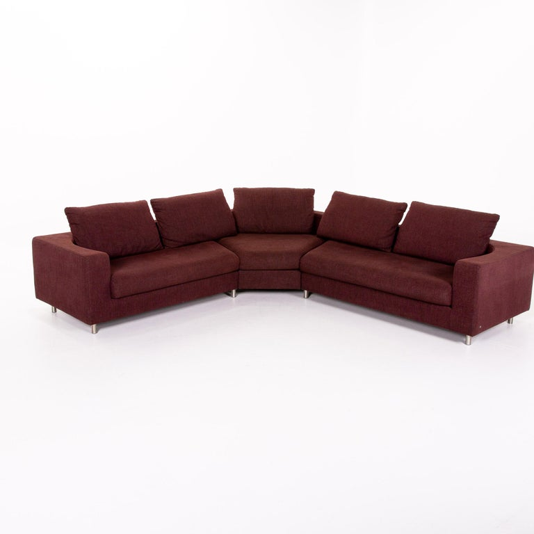 Rolf Benz 546 Fabric Corner Sofa Incl. Stool Dark Red Red Sofa Couch For Sale 5