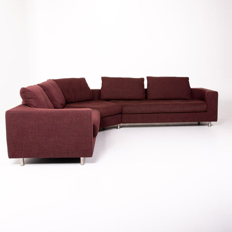 Rolf Benz 546 Fabric Corner Sofa Incl. Stool Dark Red Red Sofa Couch For Sale 6