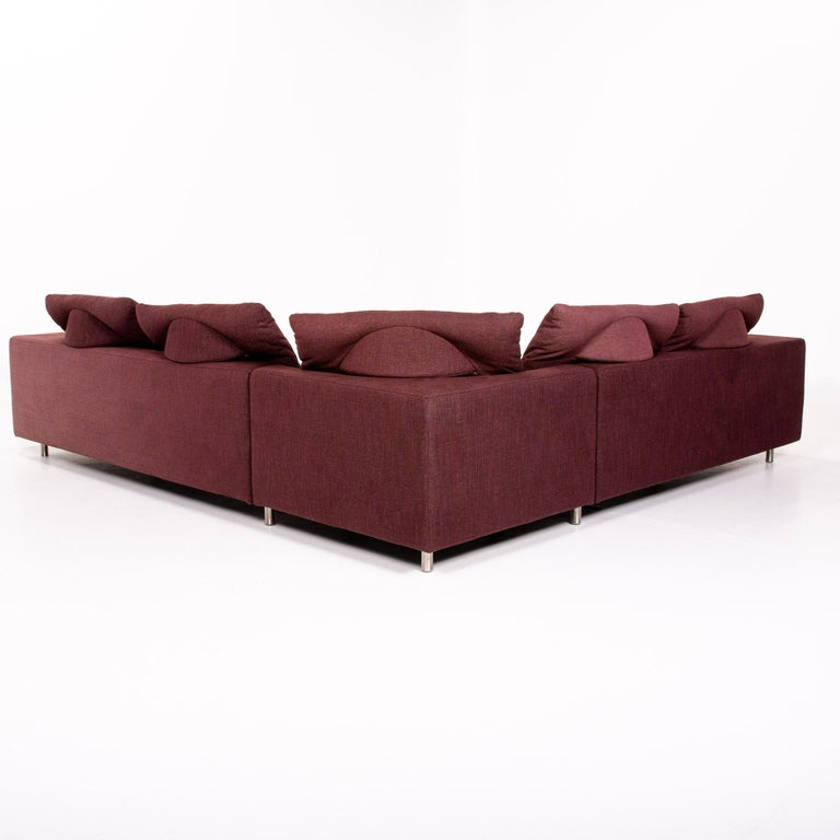 Rolf Benz 546 Fabric Corner Sofa Incl. Stool Dark Red Red Sofa Couch For Sale 7