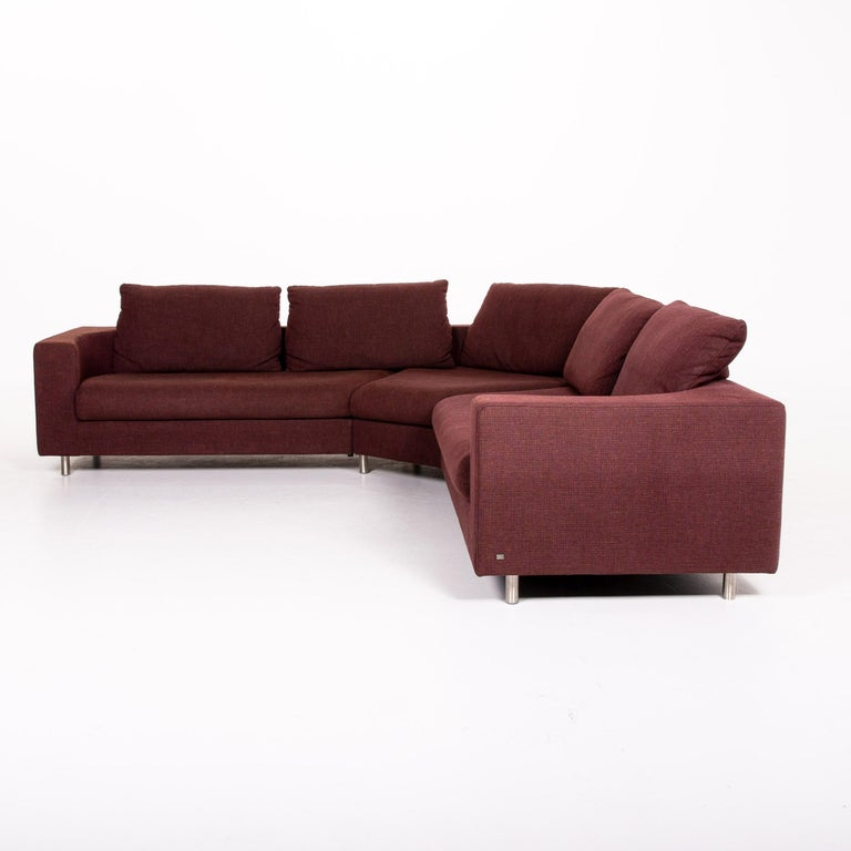 Rolf Benz 546 Fabric Corner Sofa Incl. Stool Dark Red Red Sofa Couch For Sale 8