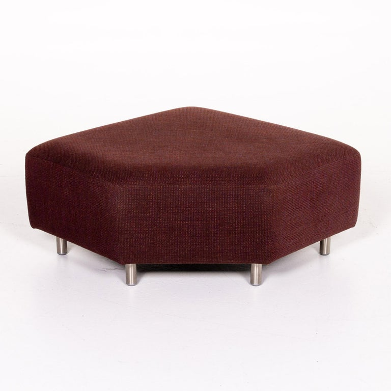 Rolf Benz 546 Fabric Corner Sofa Incl. Stool Dark Red Red Sofa Couch For Sale 9