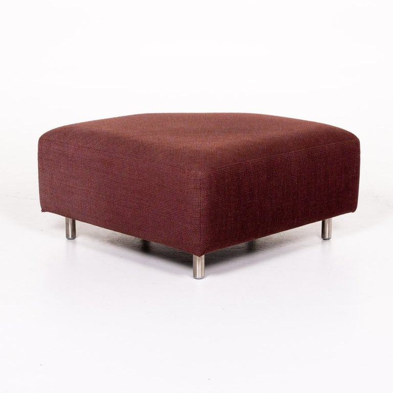 Rolf Benz 546 Fabric Corner Sofa Incl. Stool Dark Red Red Sofa Couch For Sale 11