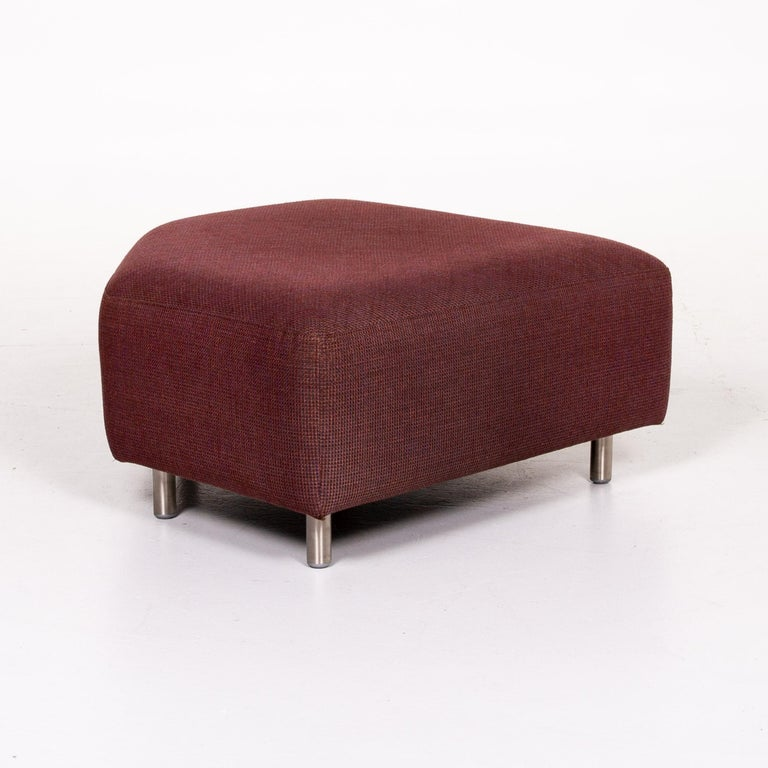 Rolf Benz 546 Fabric Corner Sofa Incl. Stool Dark Red Red Sofa Couch For Sale 12