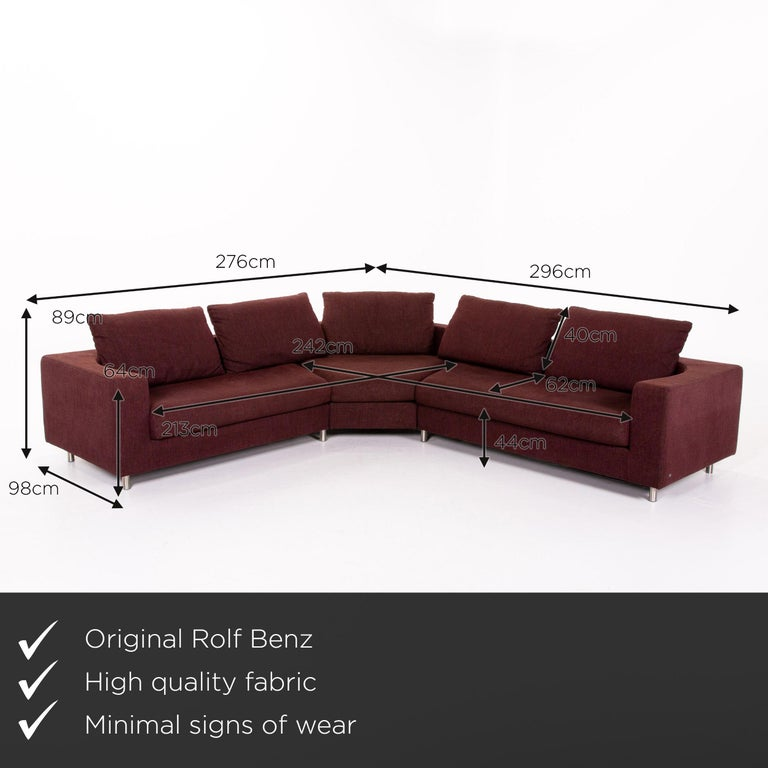 We present to you a Rolf Benz 546 fabric corner sofa incl. stool dark red red sofa couch.     Product measurements in centimeters:    Depth 98 Width 276 Height 85 Seat height 44 Rest height 64 Seat depth 62 Seat width 213 Back height